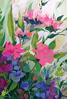 Toland Home Garden Painted Flowers 28 x 40 Inch Decorative Spring Summer Pink Flower House Flag