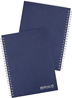Miliko A5 Size Kraft Paper Hardcover Square Grid Wirebound/Spiral Notebook/Journal-2 Notebooks Per Pack-70 Sheets (140 Pages)-8.27 Inches x 5.67 Inches(Silver Binding Rings, Blue Square Grid)
