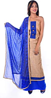 Yi YouthIconz - Inspiring Youth In You Women's Chanderi Silk Unstitched Dress Material (5229; Cream; Free Size)