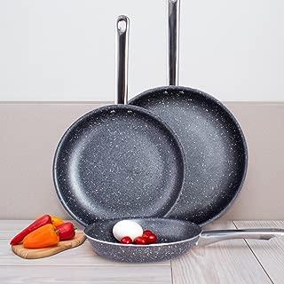 Lexi Home MW3799 Marble Nonstick Frying Pan Set, 3 Pcs, Black