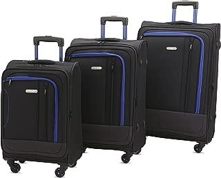 Luggage Set Durable Lightweight Soft Case Spinner Suitcase LUG3-JZ787, 3 Pieces, Black/Dark