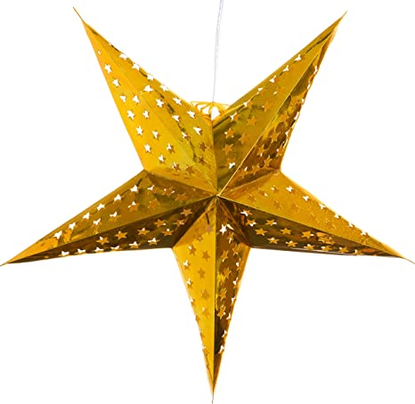 Hologram Gold Paper Star Lantern With 12 Foot Power Cord Included Home Improvement
