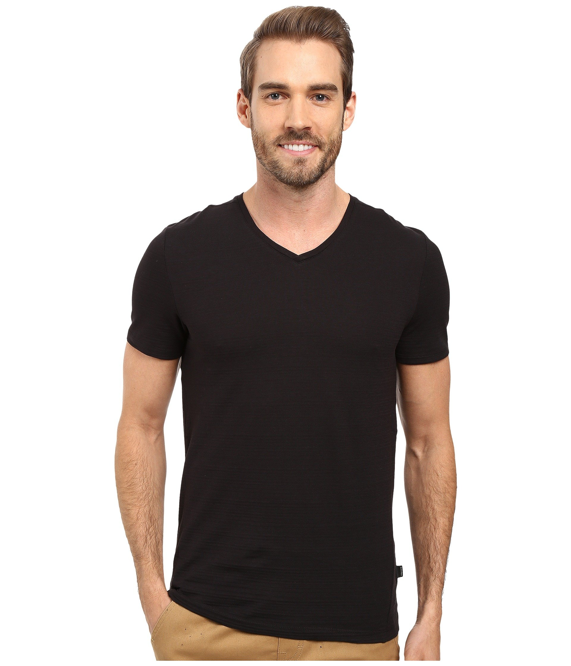 Black shirt V Klein Slim T neck Calvin fit Hx48Sfa
