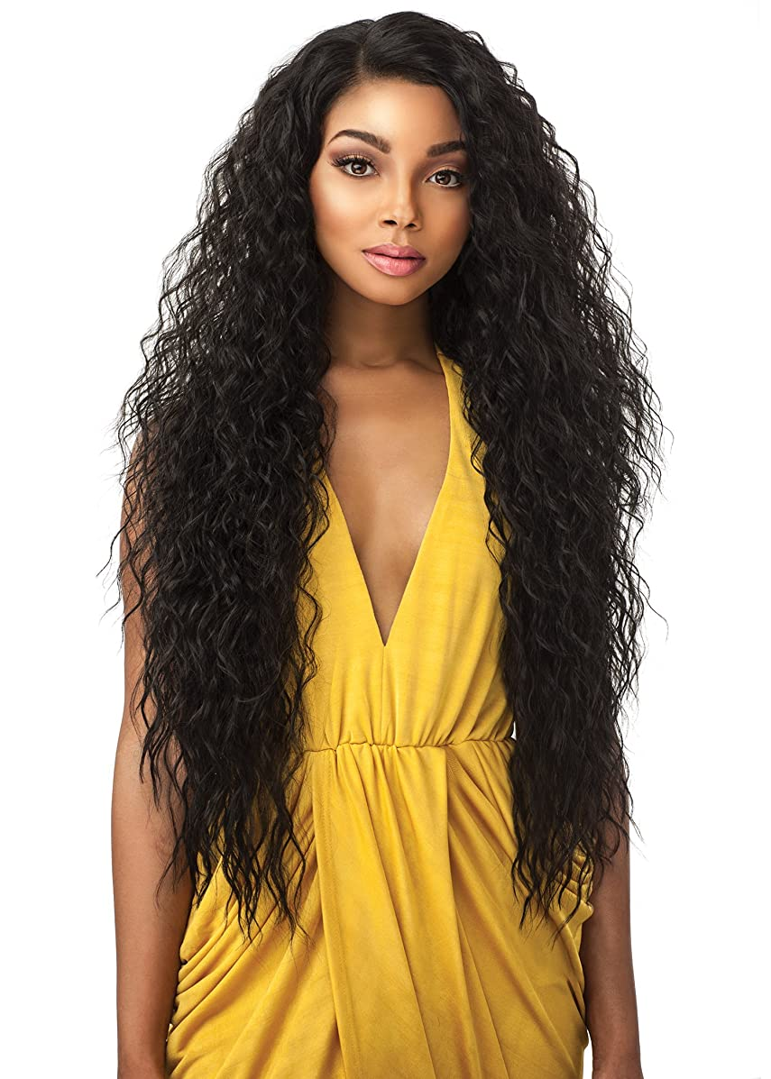Sensationnel 100% Premium Fiber Synthetic Hair Empress Edge Curved Part Lace Front Wig - TUSCANY (1B)