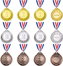 Favide 12 Pieces Gold Sliver Bronze Metal Medals Winner Award Medals Prizes for Competitions, Party, 2.55 Inches