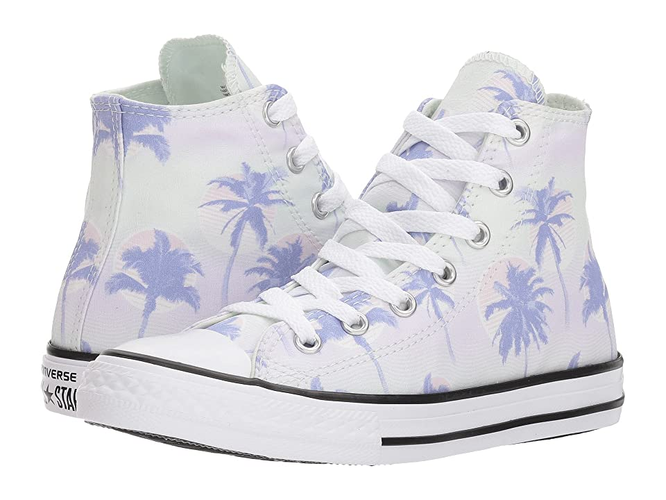 Converse Kids Chuck Taylor All Star Palm Trees Hi (Little Kid/Big Kid) (Barely Green/Twilight Pulse/White) Girls Shoes
