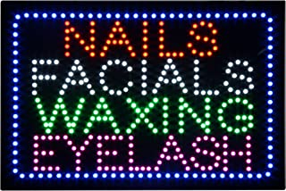 LED Nails Facial Waxing Eyelash Open Light Sign Super Bright Electric Advertising Display Board for Eyelash Extension Business Shop Store Window Bedroom 24 x 15 inches