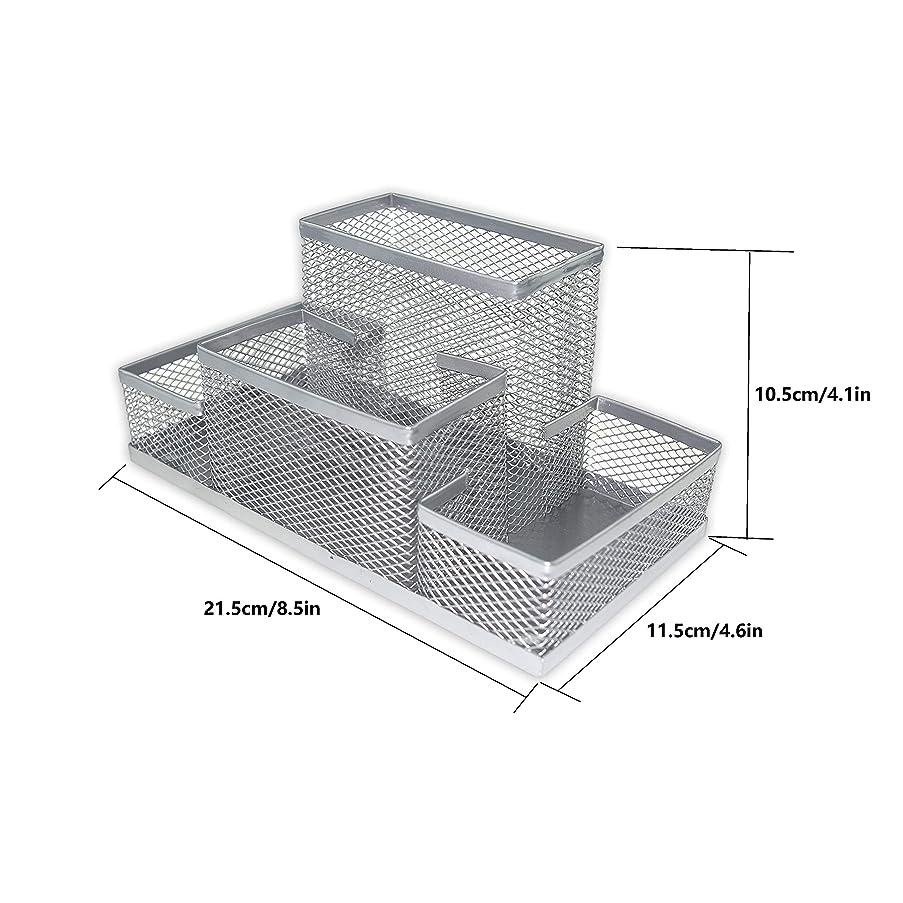 Fengtaiyuan T03, Silver-Plus, Big Metal Wire Mesh Pencil Holder, Office Storage Box, Pencil Cup, Desk Organizer