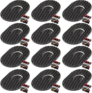 "12 x COTU (R) Portable Palm Brush Beard Comb Pocket Hair Comb Scalp Massager Hair Brush Shampoo Comb for Travel - Black Color 3.5"" x 2.5"" x 0.25"""
