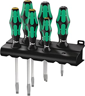 Wera 05007681001 334/355 Sk/6 Screwdriver Set Kraftform Plus Lasertip and Rack, 6 Pieces