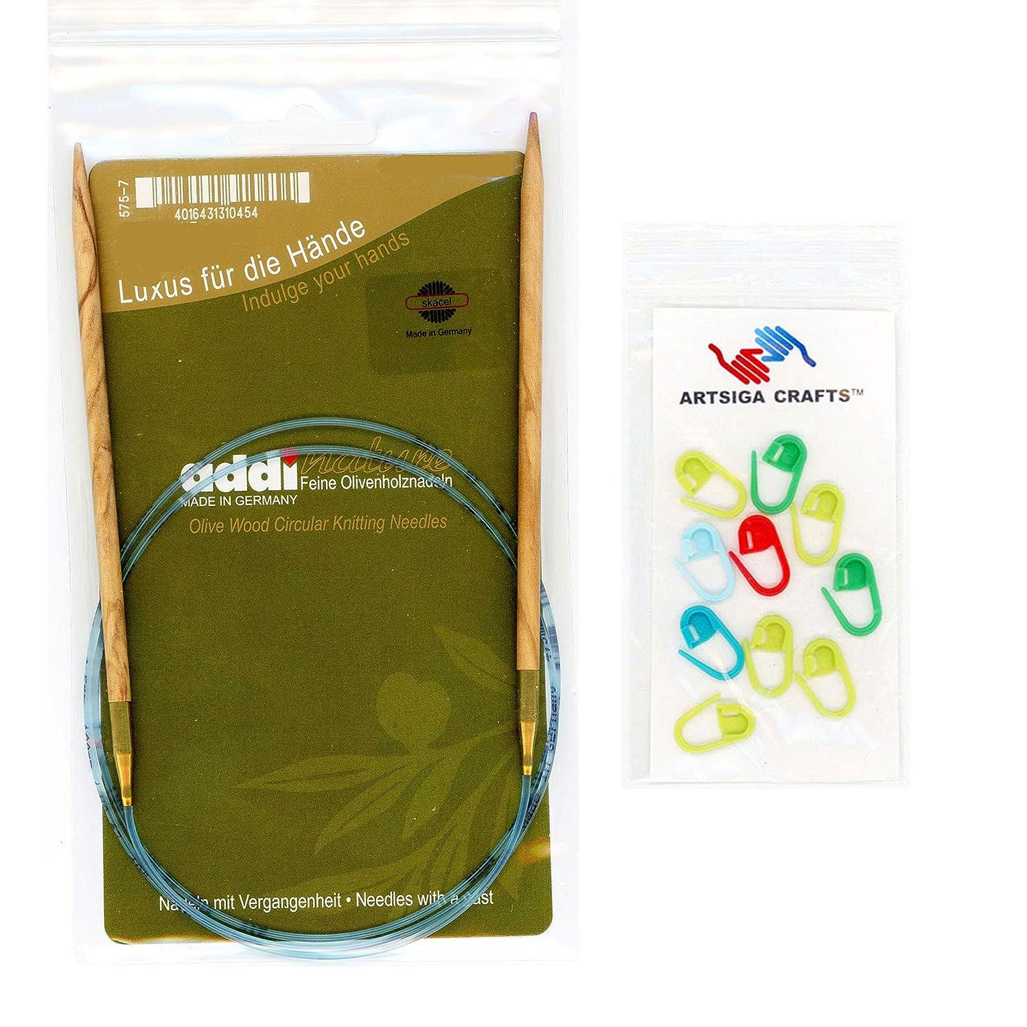 addi Knitting Needle Circular Olive Wood Skacel Exclusive Blue Cord 40 inch (100cm) Size US 05 (3.75mm) Bundle with 10 Artsiga Crafts Stitch Markers