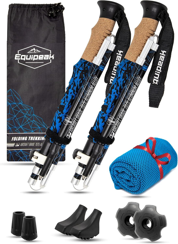 Sale Special Price Equipeak Folding Trekking Poles Aluminum 2 Lightweight Durable In stock