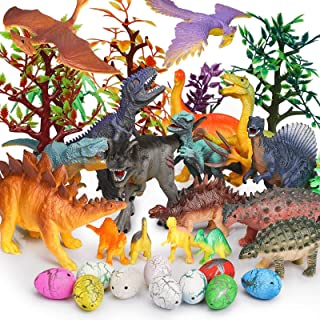 JamBer Dinosaur Toys 34 Pack Realistic Dinosaur Action Figures Jungle Animal Figures Toys for Kids Dino Toys for Toddlers ...