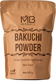 MB Herbals Bakuchi Powder   Psoralea corylifolia Seeds Powder   Babchi   Purple Fleabane   Skin Care   Promotes Even Skin Tone   Reduces White Spots   Strengthens Bones