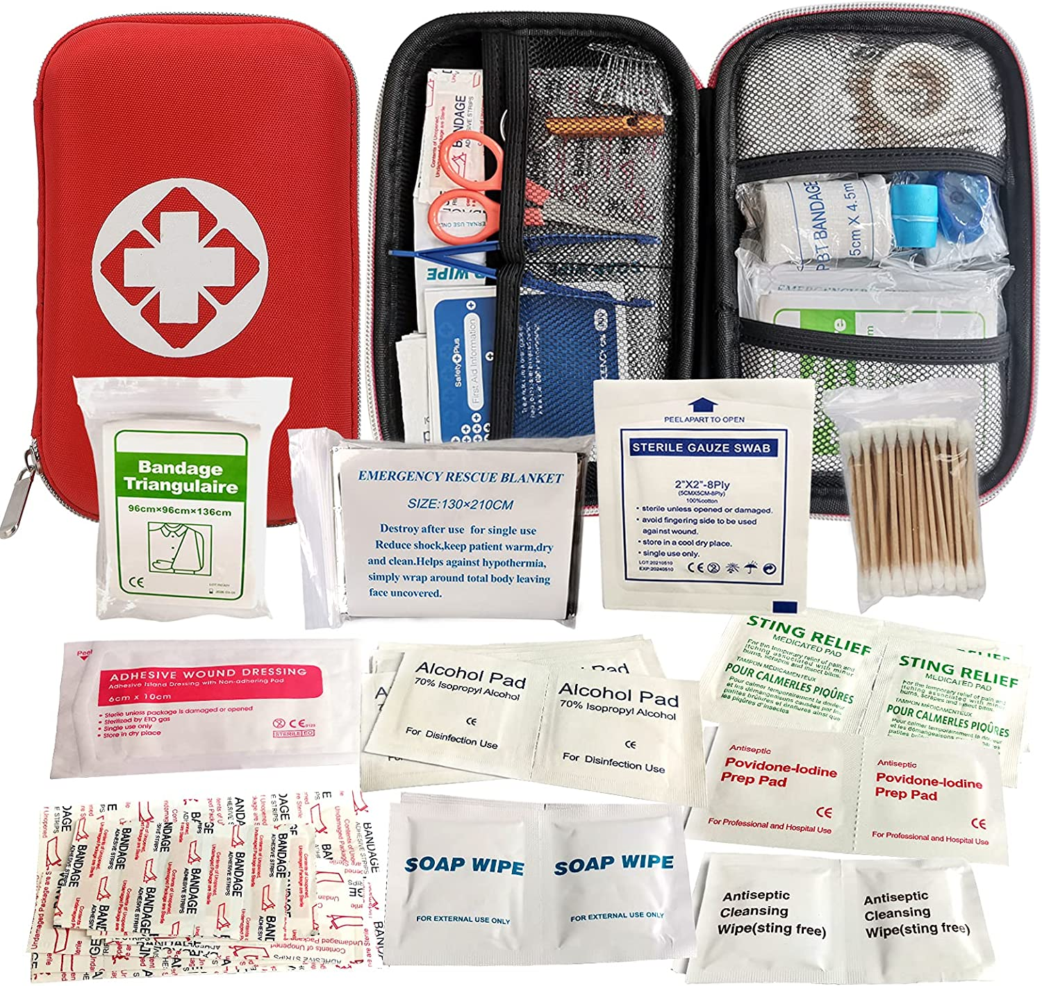First Aid Kit, Perfect for Travel, Outdoor, Home, Office, Hiking, Car: Health & Personal Care