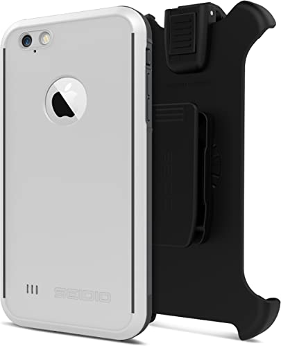 2021 Seidio OBEX Waterproof outlet online sale Case and Removable Belt-Clip Holster Combo for the iPhone outlet online sale 6 Plus/6s Plus [Drop Proof] - Retail Packaging - White/Gray online sale