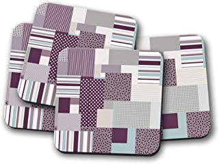 Posavasos con diseño tipo patchwork en tonos violeta y azul, posavasos individuales o juego de 4
