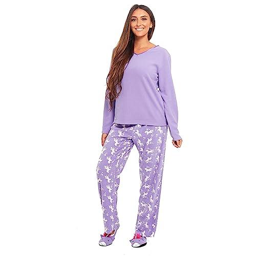 8a56b99b40f6 INSIGNIA Ladies 3 PCE Fleece Pyjamas Sets Loungewear with Slippers