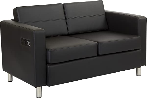 Office Star Atlantic Loveseat With Silver Finish Legs And Dual Charging Station Black Dillon Fabric