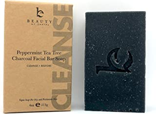 Charcoal Face Wash Bar Soap - Peppermint Tea Tree Antibacterial Soap Bar Facial Cleanser for Oily Skin, Black Soap Face Cl...