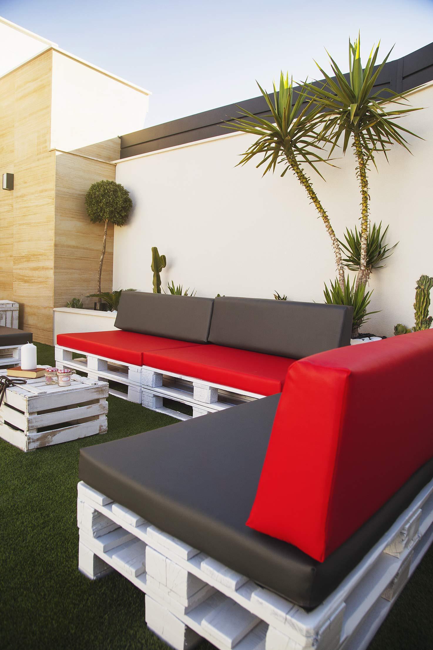 SUENOSZZZ-ESPECIALISTAS DEL DESCANSO Colchoneta Asiento para Sofas de palets, cojin Chill out Relleno con Espuma y enfundado en Polipiel Color Beige: Amazon.es: Jardín