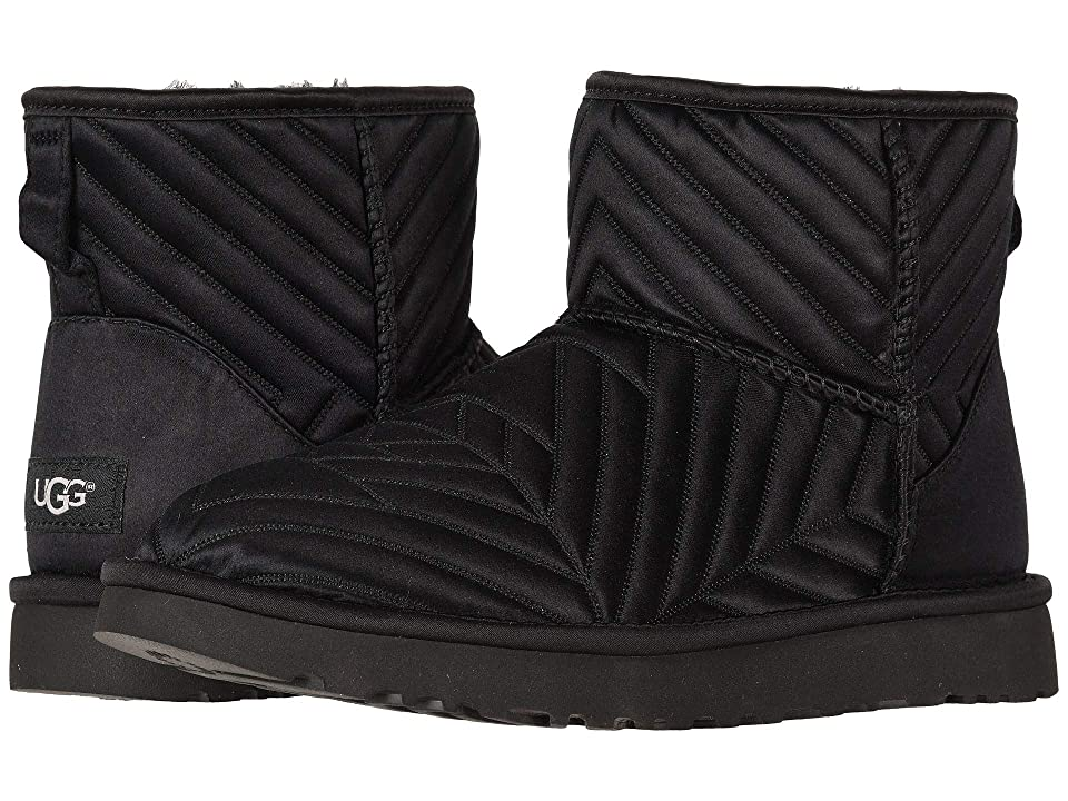 UGG Classic Mini Quilted Satin (Black) Women
