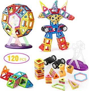 Magnetic Blocks, 120 Pcs Magnetic Building Blocks with Wheels, Magnet Tiles Toys for Kids, Upgrade Quality Instruction Booklet & Storage Bag Included