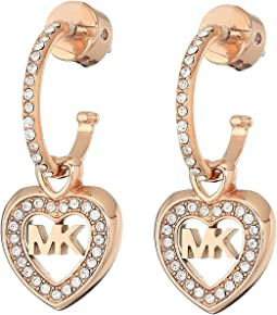 Michael Kors - Love Is In The Air Pave Heart Drop Earrings