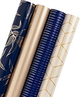 WRAPAHOLIC Gift Wrapping Paper Roll - Gold and Navy Print with Cut Lines for Birthday, Holiday, Father's Day, Baby Shower Gift Wrap - 4 Rolls - 30 inch X 120 inch Per Roll
