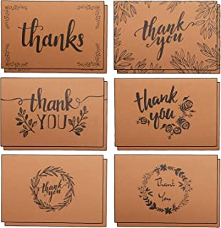 AlexBasic 120 PCS Thank You Cards 6 Designs Kraft Paper with Envelopes and Stickers for Wedding, Business, Formal, Baby Shower and All Occasions