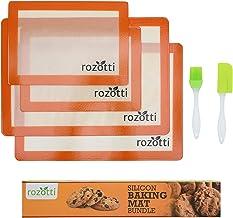 Rozotti Silicone Baking Mat Bundle (6-Piece Set) 2 Half Sheets Silicone Baking Mat and 2 Quarter Sheets Silicone Baking Ma...