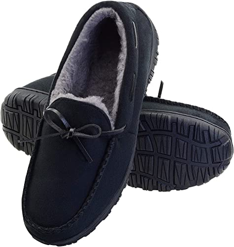 LseLom Mens Moccasin Slippers Comfy Fuzzy Pile Lined House Slipper Faux Fur Lining Anti-Slip with Bow Tie Moccasins for Men