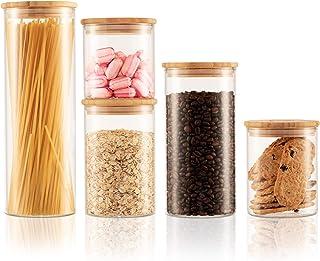 Twinzee - Bocaux en Verre Rangement Cuisine Lot de 5 Tailles (de 800mL à 2,2L), Boite Hermetique Alimentaire, Pot Bocal en...
