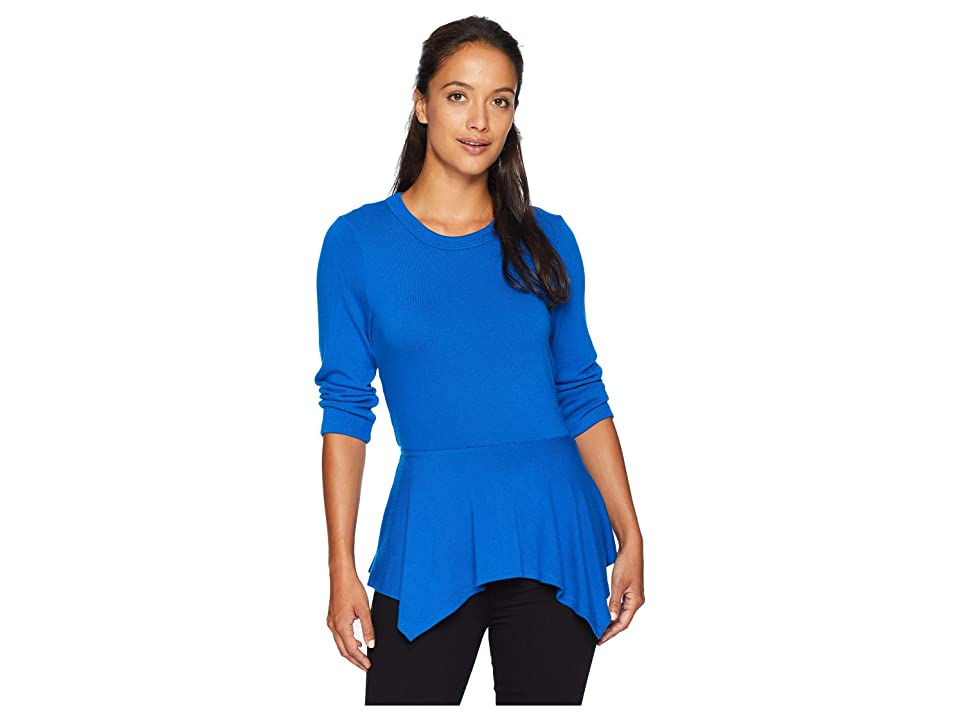 Karen Kane 3/4 Sleeve Peplum Sweater (Royal) Women