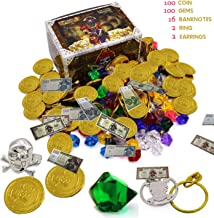 Smilkat Pirate Treasure with Plastic Gold Coins and Diamonds Gems Jewelry, Pirates Party Favor Game Play Set Toys Supplies for Kids