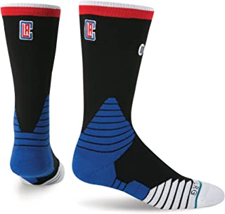 Stance Men's NBA On Court Los Angeles Clippers Logo Socks X-Large (13-16) Black Red Blue