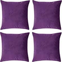 Deconovo Home Decorative Super Soft Pillowcases Solid Cushion Cover Square Throw Pillow Cases with Invisible Zipper for Sofa 18 x 18 Inch Violet Set of 4