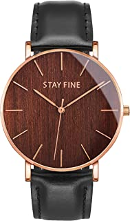 Wood Watches for Men with Italian Leather Band | Finest Wooden Watches Mens | Best Wood Watch for Men | Minimalist Wooden Watch with Leather Strap | Luxury Wooden Watches for Men | by STAY FINE