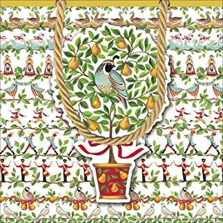 Caspari Christmas Gift Bag Small 5.75 sq inch - 12 Days of Christmas