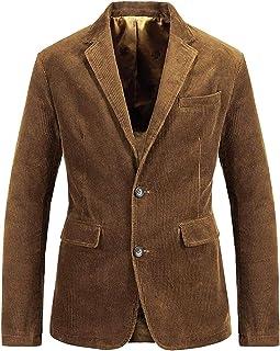 Men's Vintage Casual Work Wear Corduroy Suit Blazer Jacket Sport Coat