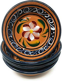 Pozole Bowls, Clay Bowls, Handcrafted, Hand-Painted, Serving Bowl Set of 4