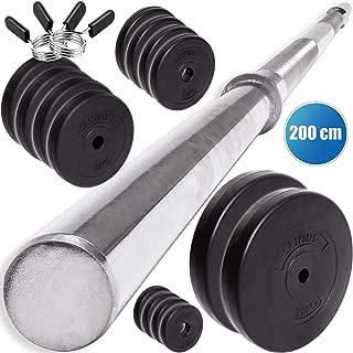 C.P. Sports - Juego de Pesas (30 mm, 68 kg, Barra Larga, 200