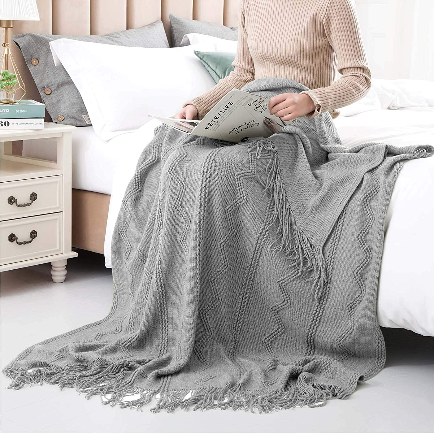 ZJGKNM 100% Acrylic Knit Throw Decorative Soft Animer and price Large-scale sale revision Blanket Textured