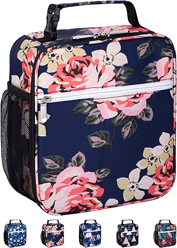 Leakproof Insulated Reusable Cooler Lunch Bag Durable Compact Office Work School Lunch Box With Multi Pockets Detachable Buckle Handle For Women Men And Kids Big Blue Peony