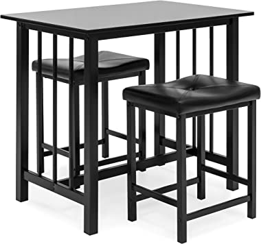 Best Choice Products 3-Piece Counter Height Dining Table Furniture Set for Kitchen, Bar, Bonus Room w/ 2 Faux Leather Backles