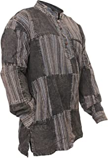 Shopoholic Fashion Mens Stonewashed Plain Stripe Patch Hippie Shirt