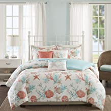 Madison Park Pebble Beach 6 Piece Duvet Cover Set, Coral, Cal King, King/California King