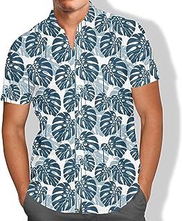 Camisa Praia Masculina Tropical Folhagens Flores Summer