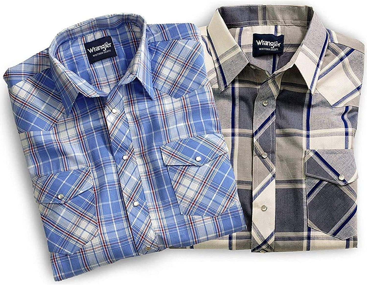 Wrangler Men's Assorted Classic Short Sleeve Western Shirt Big and Tall Plaid XXX-Large Tall