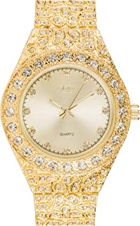 Men's Iced Out Gold Watch with Simulated Diamonds and Nugget Style Hip Hop Band - Gold